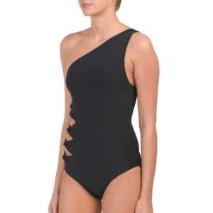 Carmen Marc Valvo one shoulder one piece swim suit